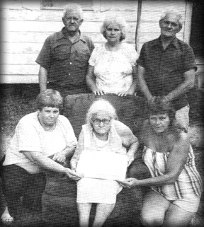 Pearl Mae Goodrich and Family Celebrating her 85th birthday. Left to right: Top: Aaron, Jessie Mae Norris, Ted, Bottom: Helen Hall, Pearl Mae, and Edna Harris
